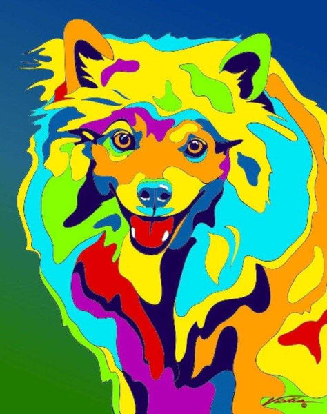 Multi-Color American Eskimo Dog Breed Matted Prints & Canvas Giclées - MULTI-COLOR DOG PRINTS