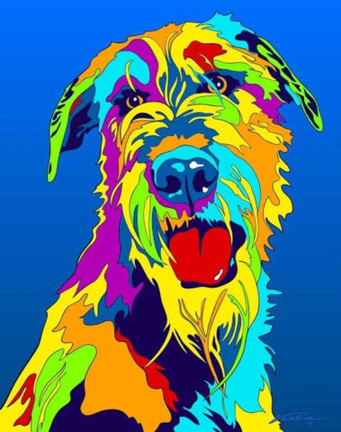 Multi-Color Irish Wolfhound Dog Breed Matted Prints & Canvas Giclées - MULTI-COLOR DOG PRINTS