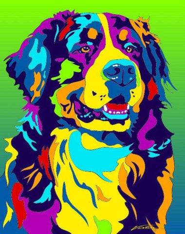 Bernese Mountain Matted Prints & Canvas Giclées - MULTI-COLOR DOG PRINTS