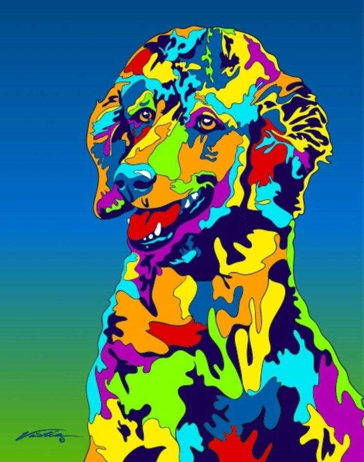 Multi-Color Poodle Dog Breed Matted Prints & Canvas Giclées - MULTI-COLOR DOG PRINTS