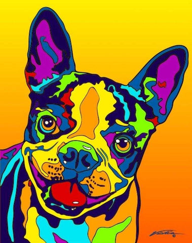 Boston Terrier Matted Prints & Canvas Giclées - MULTI-COLOR DOG PRINTS