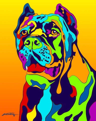 Multi-Color Cane Corso Dog Breed Matted Prints & Canvas Giclées - MULTI-COLOR DOG PRINTS