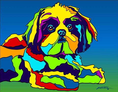 Multi-Color Shih-tzu Dog Breed Matted Prints & Canvas Giclées - MULTI-COLOR DOG PRINTS