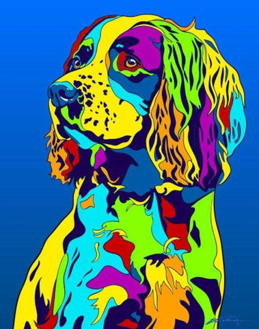 Multi-Color English Springer Spaniel Dog Breed Matted Prints & Canvas Giclées - MULTI-COLOR DOG PRINTS
