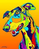 Multi-Color Greyhound Dog Breed Matted Prints & Canvas Giclées - MULTI-COLOR DOG PRINTS