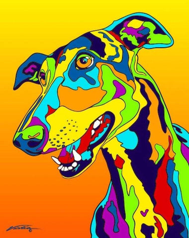 Greyhound Matted Prints & Canvas Giclées - MULTI-COLOR DOG PRINTS