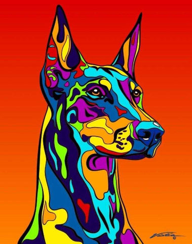 Doberman Pinscher Matted Prints & Canvas Giclées - MULTI-COLOR DOG PRINTS
