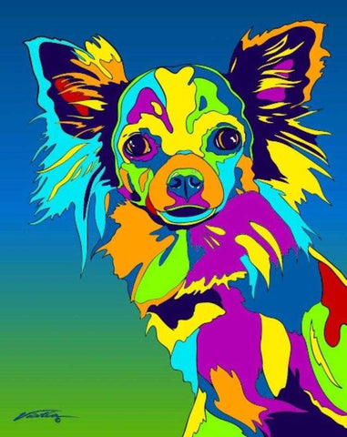 Multi-Color long-haired Chihuahua Dog Breed Matted Prints & Canvas Giclées - MULTI-COLOR DOG PRINTS