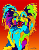 Papillon Matted Prints & Canvas Giclées - MULTI-COLOR DOG PRINTS