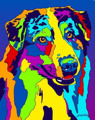 Multi-Color Australian Shepherd Dog Breed Matted Prints & Canvas Giclées - MULTI-COLOR DOG PRINTS