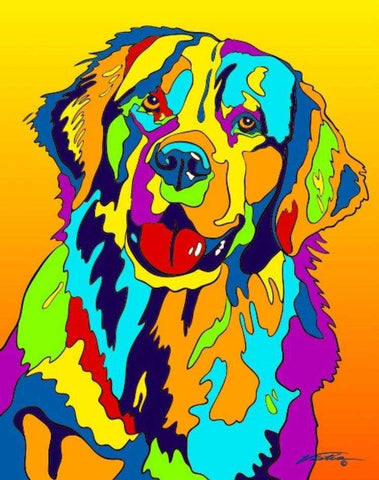Golden Retriever Matted Prints & Canvas Giclées - MULTI-COLOR DOG PRINTS