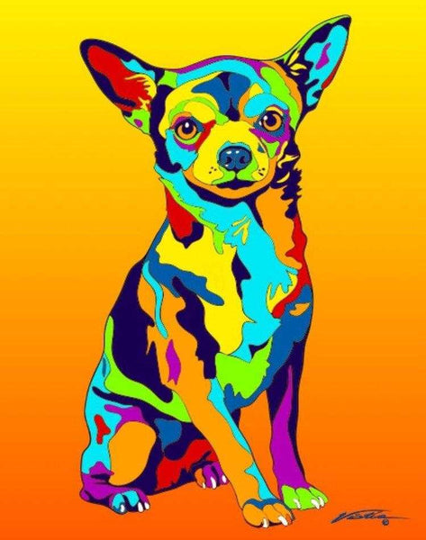 Multi-Color Chihuahua Dog Breed Matted Prints & Canvas Giclées - MULTI-COLOR DOG PRINTS
