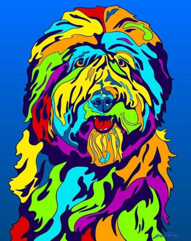 Multi-Color Old English Sheepdog Dog Breed Matted Prints & Canvas Giclées - MULTI-COLOR DOG PRINTS