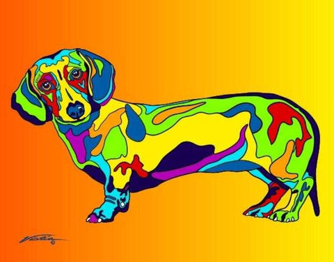 Multi-Color Dachshund Dog Breed Matted Prints & Canvas Giclées - MULTI-COLOR DOG PRINTS