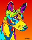 Basenji Matted Prints & Canvas Giclées - MULTI-COLOR DOG PRINTS