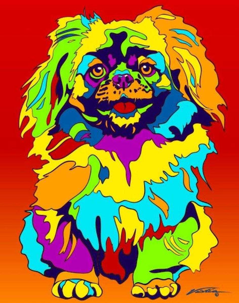 Multi-Color Pekingese Dog Breed Matted Prints & Canvas Giclées - MULTI-COLOR DOG PRINTS