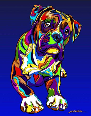 Multi-Color Boxer Dog Breed Matted Prints & Canvas Giclées - MULTI-COLOR DOG PRINTS
