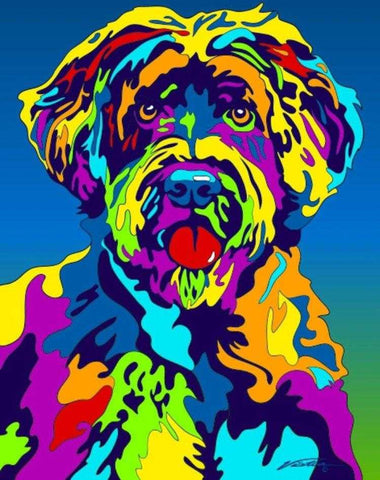Multi-Color Portuguese Water Dog Breed Matted Prints & Canvas Giclées - MULTI-COLOR DOG PRINTS