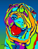 Multi-Color Shar Pei Dog Breed Matted Prints & Canvas Giclées - MULTI-COLOR DOG PRINTS