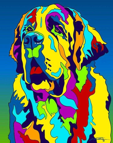 Multi-Color St. Bernard Dog Breed Matted Prints & Canvas Giclées - MULTI-COLOR DOG PRINTS