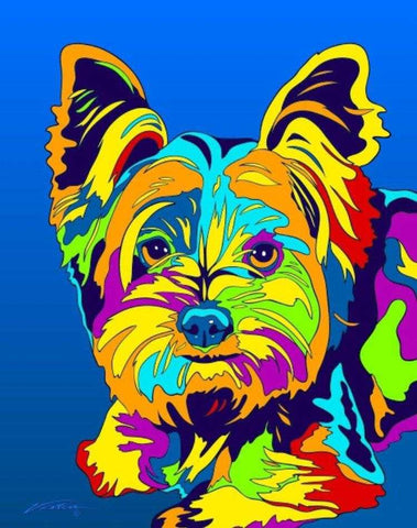 Multi-Color Yorkshire Terrier Dog Breed Matted Prints & Canvas Giclées - MULTI-COLOR DOG PRINTS