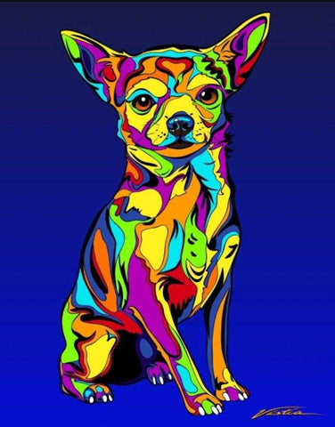 Chihuahua Matted Prints & Canvas Giclées - MULTI-COLOR DOG PRINTS