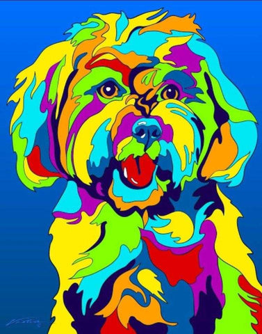 Maltese Matted Prints & Canvas Giclées - MULTI-COLOR DOG PRINTS