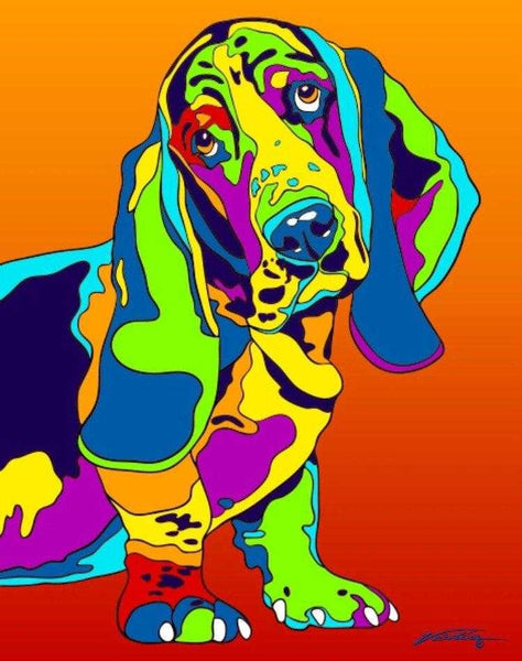Multi-Color Basset Hound Dog Breed Matted Prints & Canvas Giclées - MULTI-COLOR DOG PRINTS