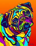 Pug Matted Prints & Canvas Giclées - MULTI-COLOR DOG PRINTS