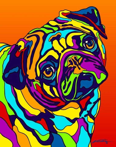 Multi-Color Pug Dog Breed Matted Prints & Canvas Giclées - MULTI-COLOR DOG PRINTS