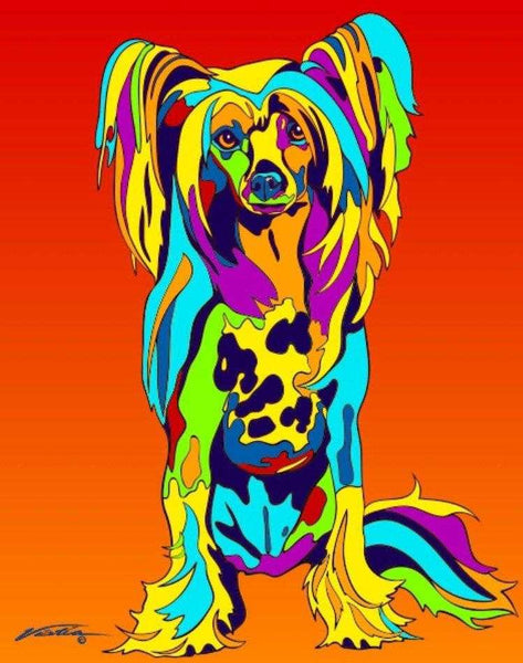Multi-Color Chinese Crested Dog Breed Matted Prints & Canvas Giclées - MULTI-COLOR DOG PRINTS