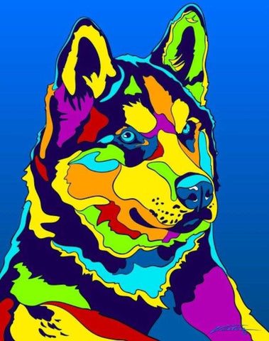 Multi-Color Alaskan Husky Dog Breed Matted Prints & Canvas Giclées - MULTI-COLOR DOG PRINTS