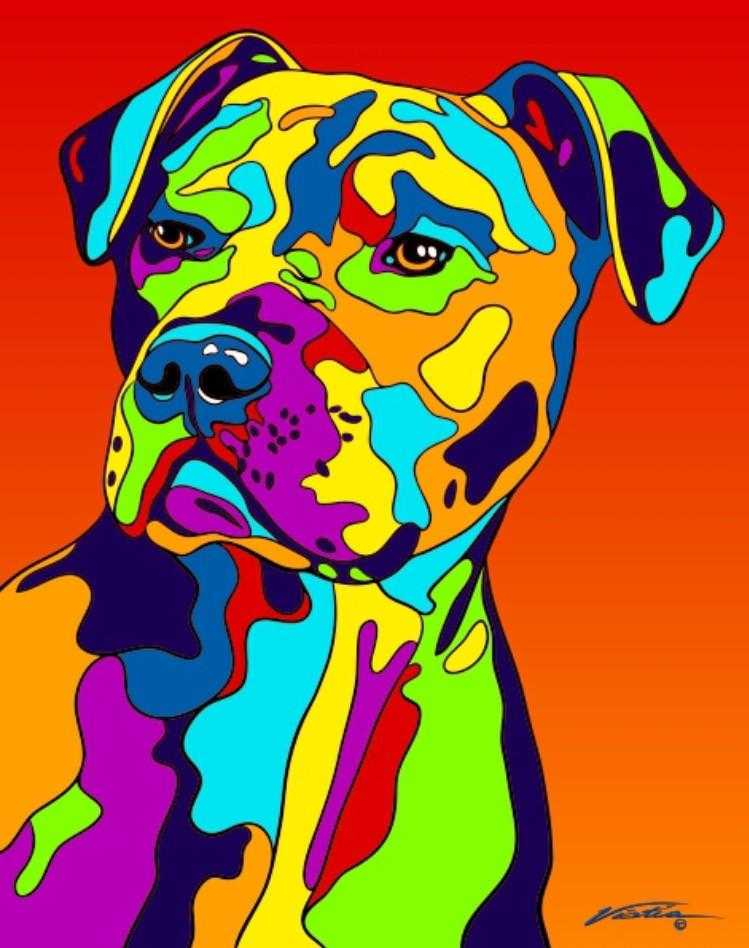 Multi-Color American Pit Bull Terrier Dog Breed Matted Prints & Canvas Giclées - MULTI-COLOR DOG PRINTS