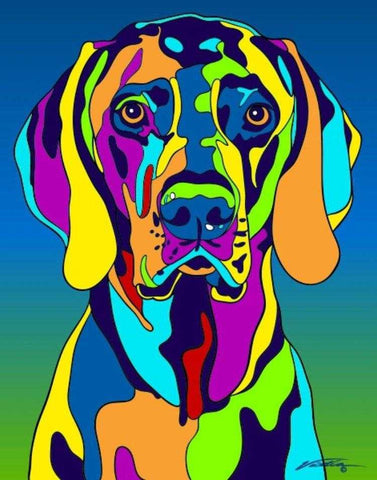 Weimaraner Matted Prints & Canvas Giclées - MULTI-COLOR DOG PRINTS