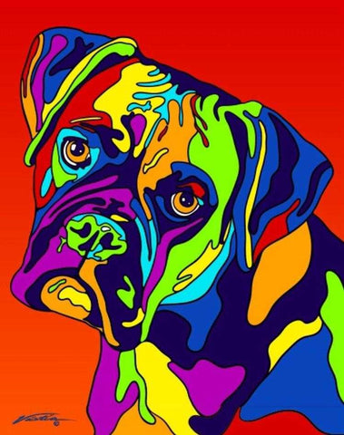 Boxer Matted Prints & Canvas Giclées - MULTI-COLOR DOG PRINTS
