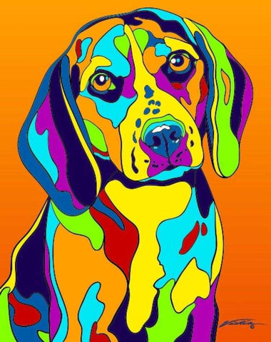 Beagle Matted Prints & Canvas Giclées - MULTI-COLOR DOG PRINTS