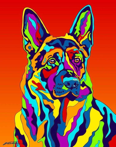 German Shepherd Matted Prints & Canvas Giclées - MULTI-COLOR DOG PRINTS