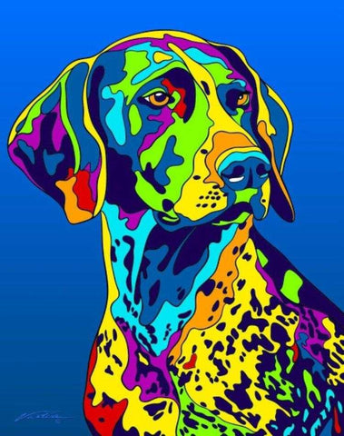 German Shorthaired Pointer Matted Prints & Canvas Giclées - MULTI-COLOR DOG PRINTS
