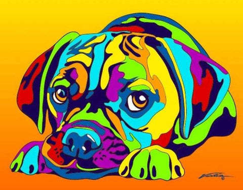 Puggle Matted Prints & Canvas Giclées - MULTI-COLOR DOG PRINTS