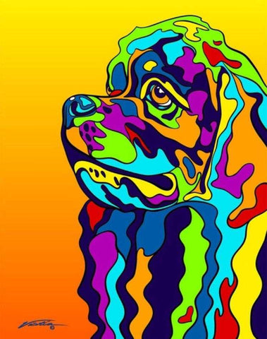 Multi-Color Cocker Spaniel Terrier Dog Breed Matted Prints & Canvas Giclées - MULTI-COLOR DOG PRINTS
