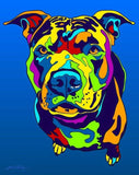 American Pit Bull Terrier Matted Prints & Canvas Giclées - MULTI-COLOR DOG PRINTS