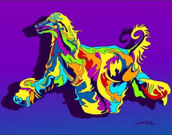 Multi-Color Afghan Hound Dog Breed Matted Prints & Canvas Giclées - MULTI-COLOR DOG PRINTS