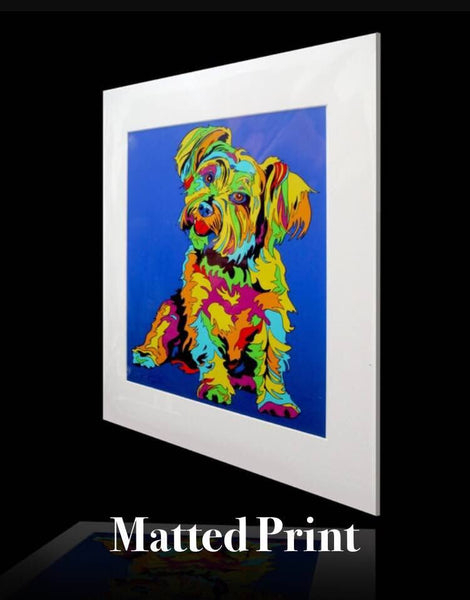Multi-Color Norwich Terrier Dog Breed Matted Prints & Canvas Giclées