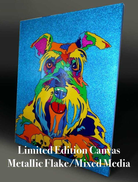 Multi-Color rainbow Dog limited Canvas Giclee 16x20 24x30 36x45