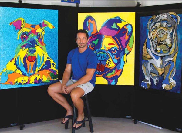 michael vistia and Rainbow dog oil on canvas paintings