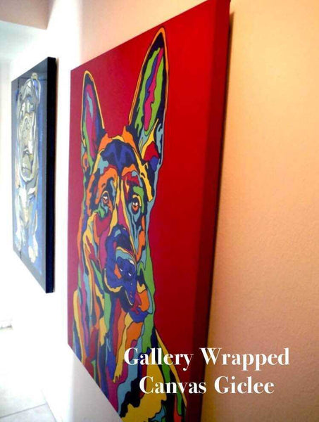 Multi-Color rainbow Dog Canvas Giclee 16x20 24x30 36x45