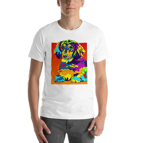 Dachshund Longhair Short-Sleeve Men T-Shirt - MULTI-COLOR DOG PRINTS