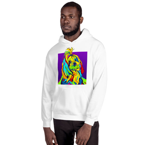 Maltese Men Hoodie - MULTI-COLOR DOG PRINTS