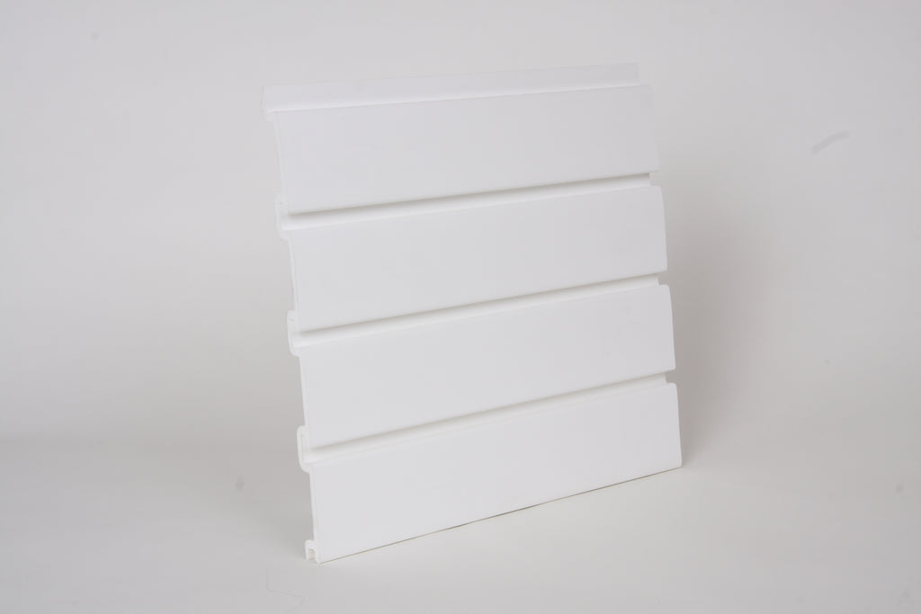 PVC Slatwall 4 x 1 - Foot White, and 8 pcs of 4 x 1 - Foot Make 1pc Standard 4 x 8 - Foot Vertical Slatwall