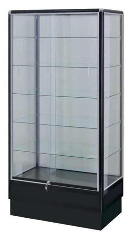 Black electrophoresis aluminum 6' high tower display showcases ---AL6B